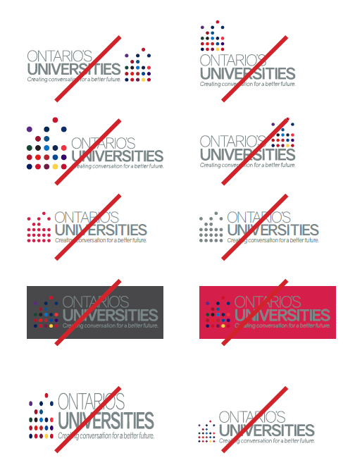 Examples of incorrect usage of the Ontario Universities logo