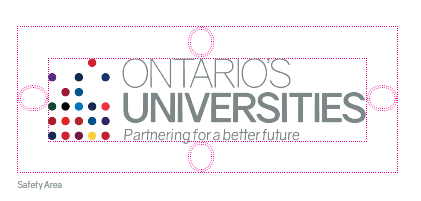 "Spacing around the Ontario Universities logo should equal the size of the ""O"""