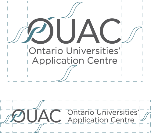 "Spacing around the OUAC logo should equal the size of the ""swoosh"""